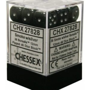 Dados De 6 Caras Borealis Chessex Humo / Plata chx 27828