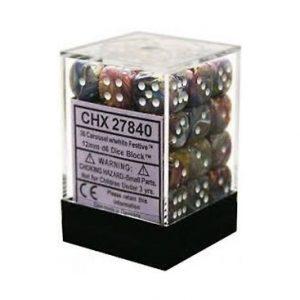 Dados De 6 Caras Festive Chessex Carrusel / Blanco chx 27840