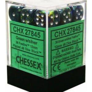 Dados De 6 Caras Festive Chessex Verde / Plata chx 27845