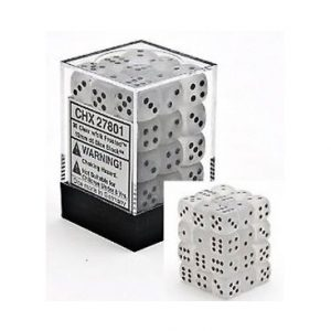 Dados De 6 Caras Frosted Chessex Transparente / Negro chx 27801