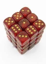Dados De 6 Caras Glitter Chessex Ruby w/gold chx 27904