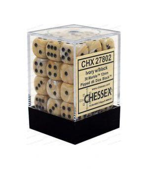 Dados De 6 Caras Marble Chessex Marfil / Negro chx 27802