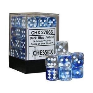 Dados De 6 Caras Nebula Chessex Azul Oscuro / Blanco chx 27866
