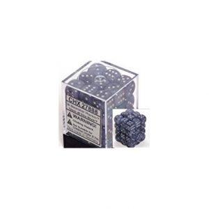 Dados De 6 Caras Phantom Chessex Negro / Plata D6 chx 27888