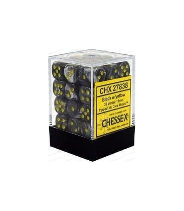 Dados De 6 Caras Vortex Chessex Negro / Amarillo chx 27838