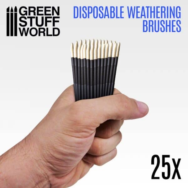 25x Pinceles Weathering Desechables